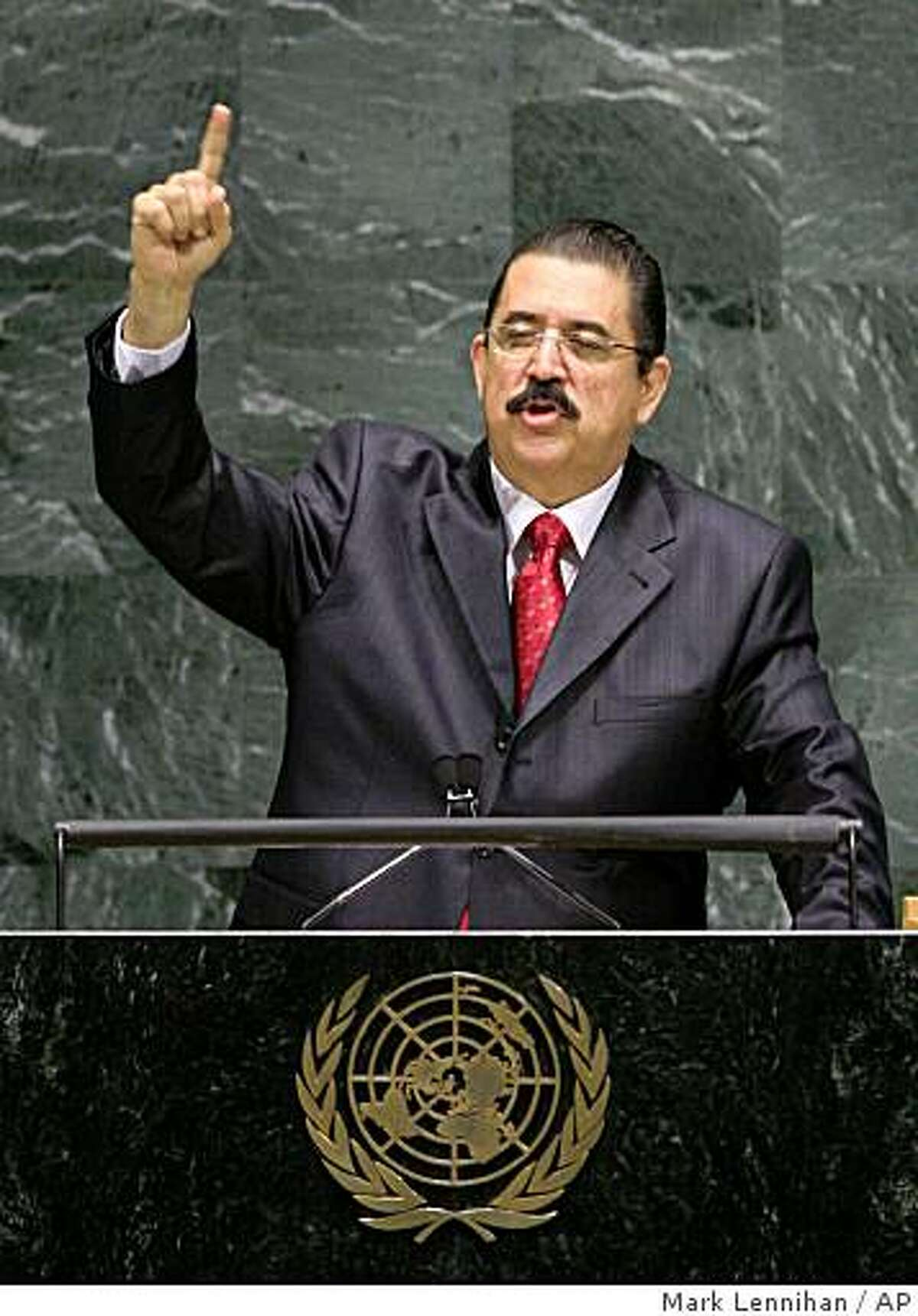 Honduran President Manuel Zelaya addresses the United Nations General Assembly Tuesday, June 30, 2009. Zelaya was ousted Sunday in a military coup. (AP Photo/Mark Lennihan)