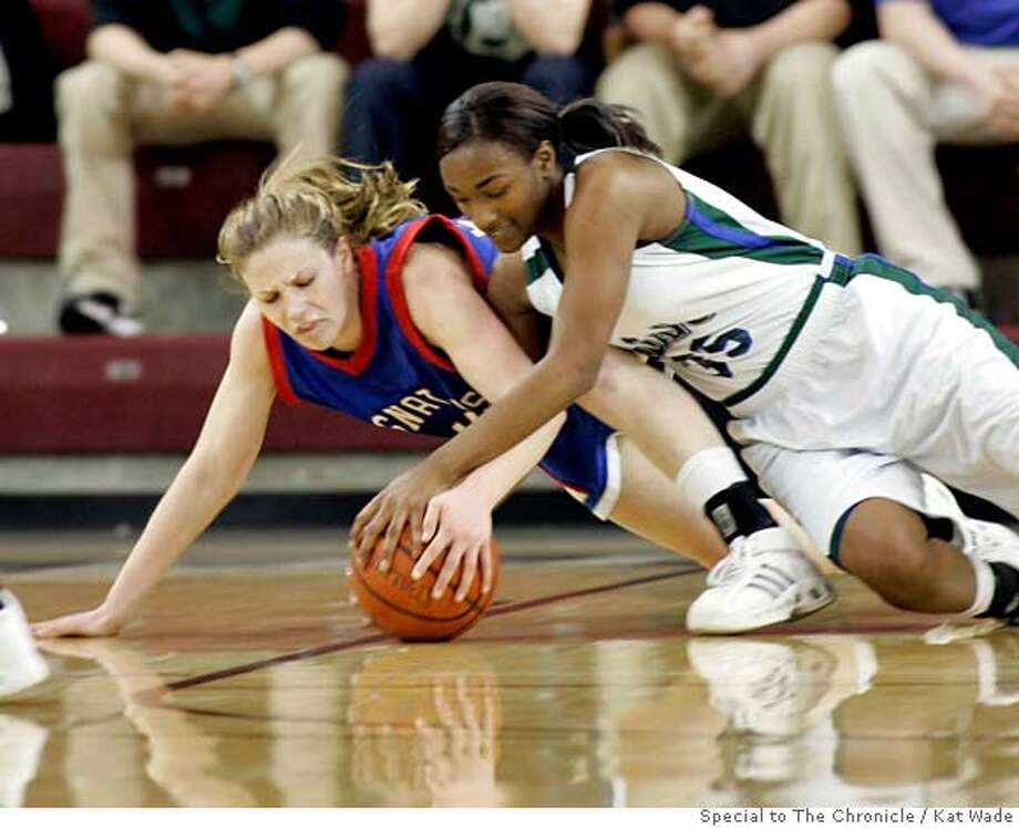 St. Ignatius Erin Grady, left, and Sacred Heart Jazmine Jackson battle for a loose ball in the first half when St. Ignatius Wildcats lost to Sacred Heart Cathedral during the Central Coast Section Division iii finasl at the Leavey Center in Santa Clara, Calif. on Friday, Feb 29, 2008.  Photo by Kat Wade / special to The Chronicle Photo: Kat Wade