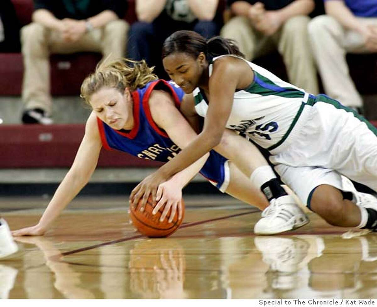 St. Ignatius Erin Grady, left, and Sacred Heart Jazmine Jackson battle for a loose ball in the first half when St. Ignatius Wildcats lost to Sacred Heart Cathedral during the Central Coast Section Division iii finasl at the Leavey Center in Santa Clara, Calif. on Friday, Feb 29, 2008. Photo by Kat Wade / special to The Chronicle