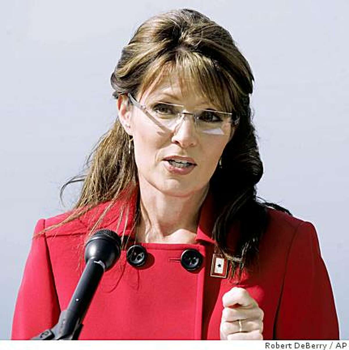 Alaska Gov. Sarah Palin announces that she is stepping down from her position as Governor in Wasilla, Alaska on Friday July 3, 2009. The former Republican vice presidential candidate made the surprise announcement, saying she would step down July 26 but didn't announce her plans. (AP Photo/The Mat-Su Valley Frontiersman, Robert DeBerry) ** ANCHORAGE DAILY NEWS OUT **