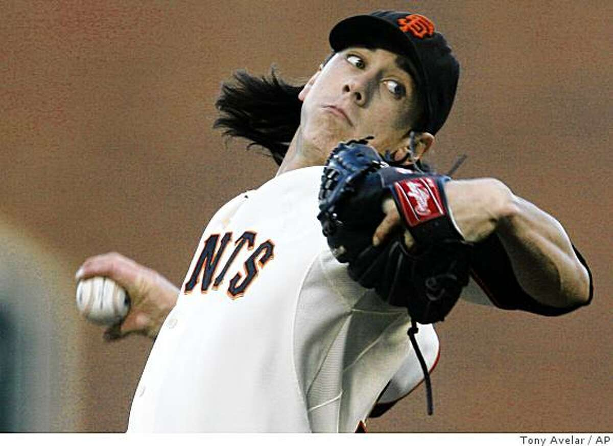 San Francisco Giants starting pitcher Tim Lincecum throws to the San Diego Padres in the first inning of a baseball game, Thursday, July 9, 2009, in San Francisco.