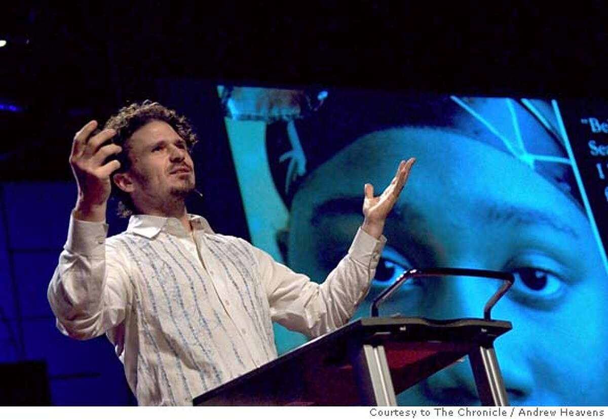 ###Live Caption:San Francisco activist and Pulitzer-nominated novelist Dave Eggers speaks at the TED conference in Monterey, Calif., on Thursday, Feb. 28, 2008. Photo by Andrew Heavens / TED###Caption History:San Francisco activist and Pulitzer-nominated novelist Dave Eggers speaks at the TED conference in Monterey, Calif., on Thursday, Feb. 28, 2008. Photo by Andrew Heavens / TED###Notes:###Special Instructions:MANDATORY CREDIT FOR PHOTOG AND SAN FRANCISCO CHRONICLE/NO SALES-MAGS OUT