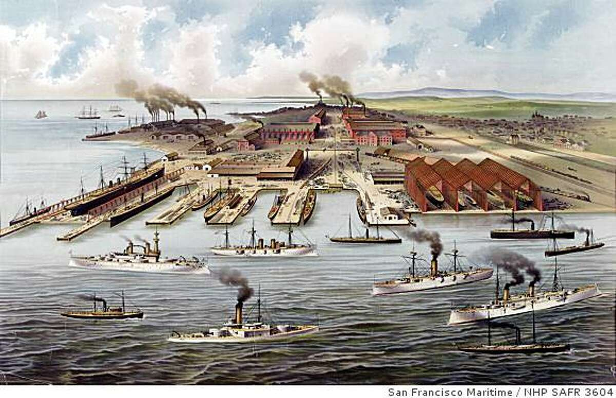 Print of the Union Iron Works at Pier 70 from early 1900s.