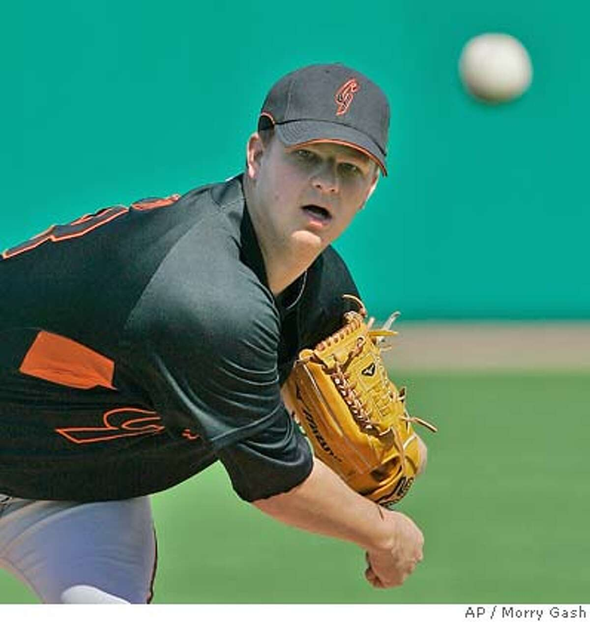 San Francisco Giants pitcher Matt Cain throws before the first inning at a baseball spring training game against the Chicago Cubs Sunday, March 2, 2008, in Mesa, Ariz. (AP Photo/Morry Gash)