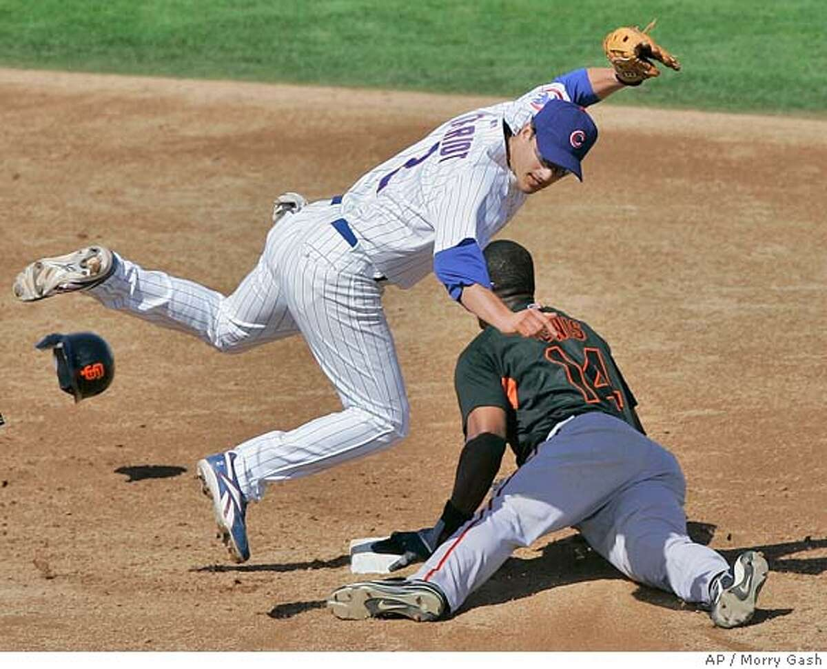 Chicago Cubs' Ryan Theriot tags out San Francisco Giants' Fred Lewis (14) as he tries to steal second during the fourth inning at a baseball spring training game Sunday, March 2, 2008, in Mesa, Ariz. (AP Photo/Morry Gash)
