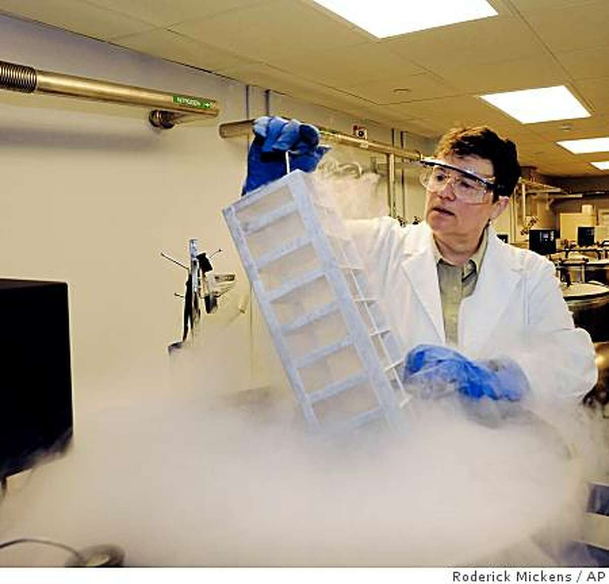 In this photo released by the American Museum of Natural History, Julie Feinstein, Manager of the museum's Ambrose Monell Collection works over a liquid nitrogen-cooled storage vat at the museum, Tuesday, July 7, 2009 in New York. In an agreement between Officials of the American Museum of Natural History and the U.S. National Park Service, frozen DNA samples from endangered species in the nation's parks are being added to the museum's collection to help researchers study and save the animals. (AP Photo/AMNH, Roderick Mickens) **NO SALES**