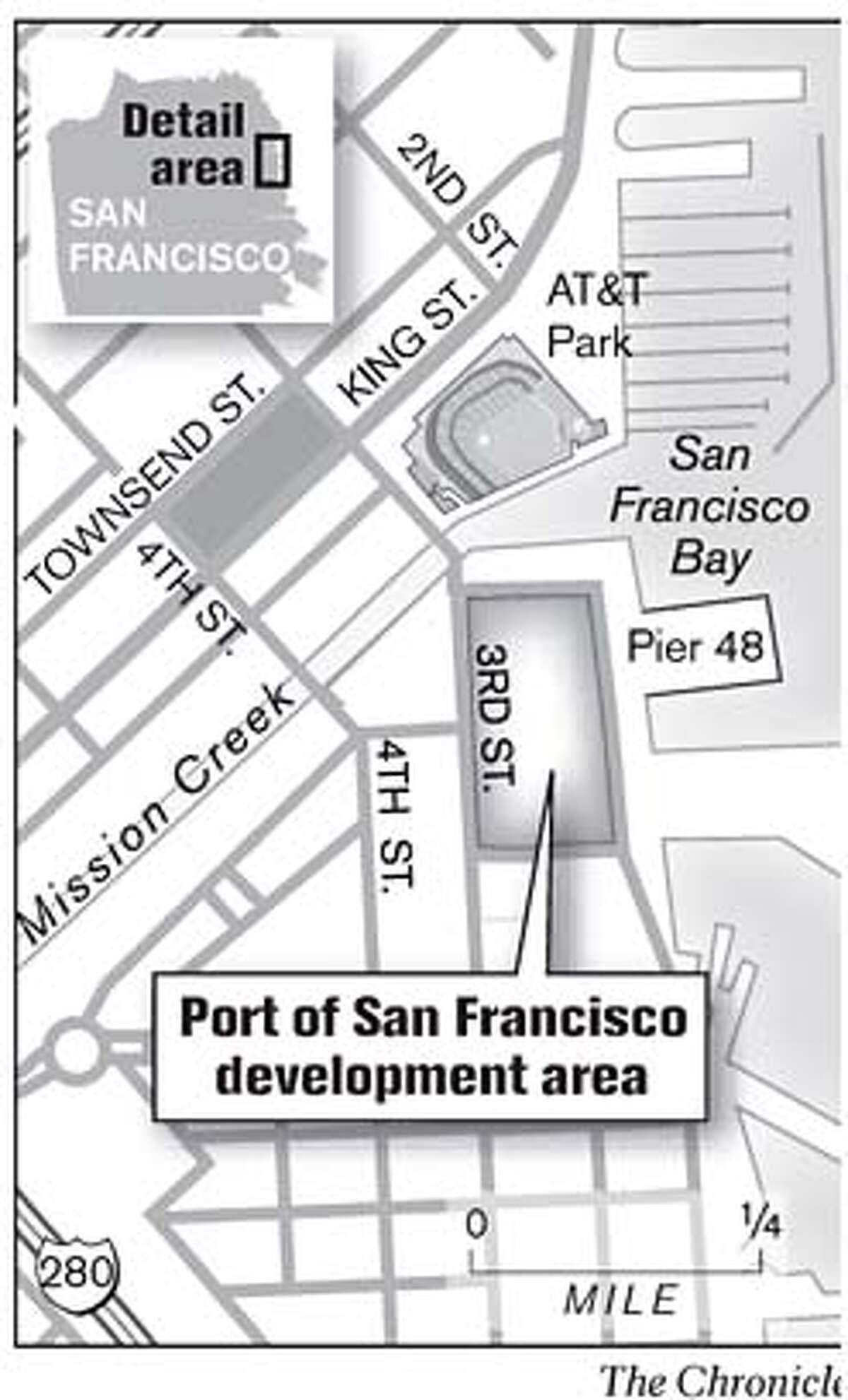 Port of San Francisco development area. Chronicle Graphic