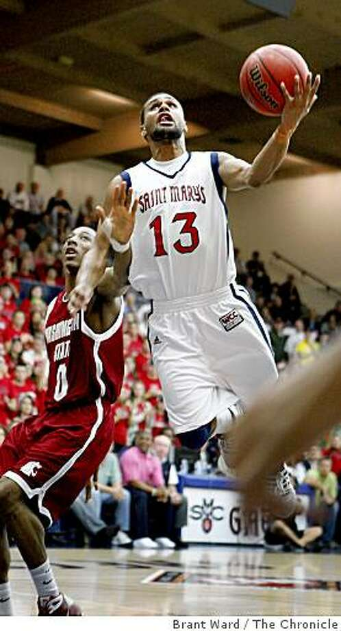 Patrick Mills went up for two points early in the game. St. Mary's mens basketball in first period,  first-round NIT action against Washington State Tuesday March 17, 2009 Photo: Brant Ward, The Chronicle
