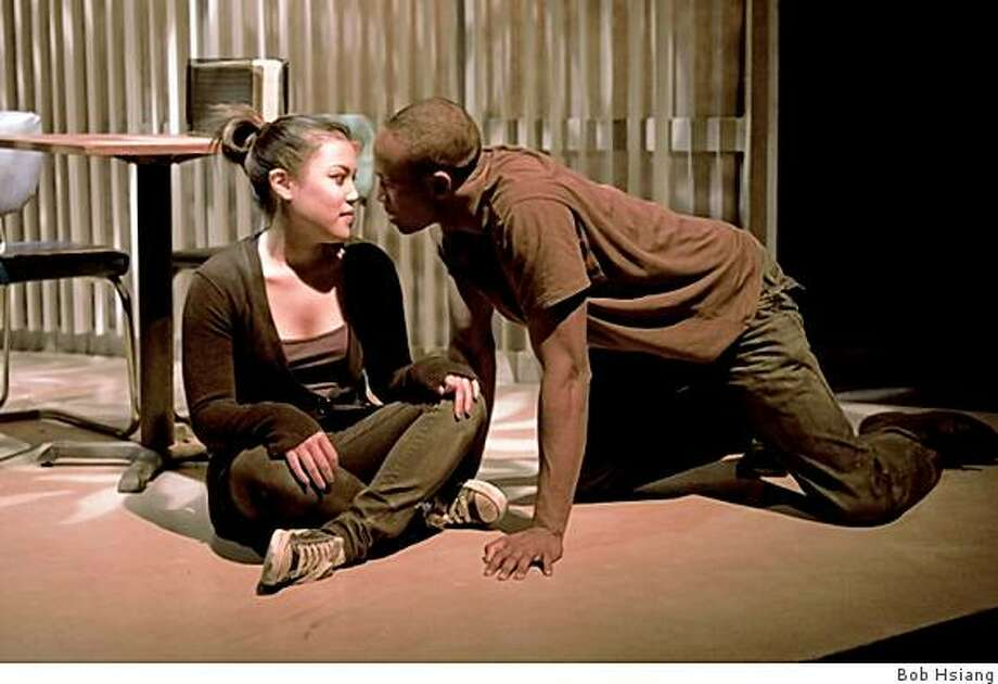 "Debbie (Kat Mendoza) and AWOL soldier Jerome (Jon Gentry, right) in Asian American Theater Company's premiere of Aurorae Khoo's ""Fayette-Nam"" Photo: Bob Hsiang"