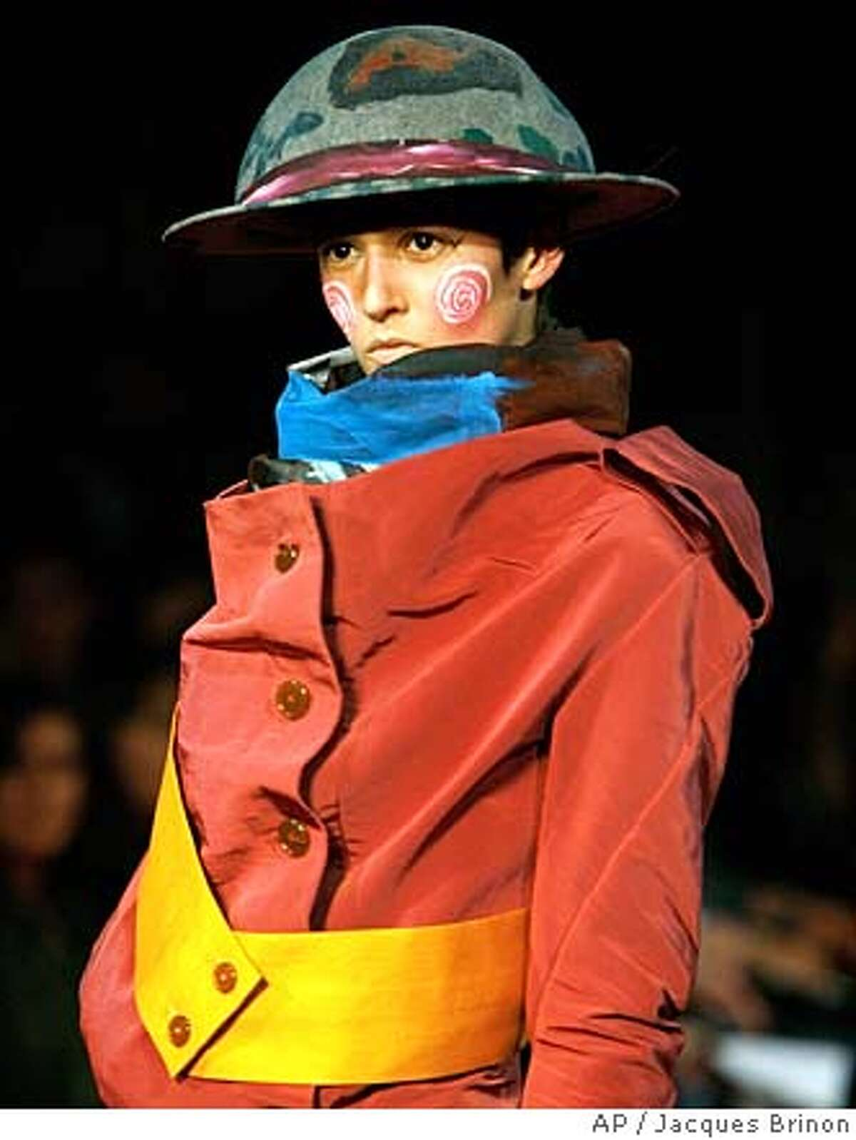 A model wears a creation by fashion designer Vivienne Westwood for her Fall-Winter 2008-2009 ready-to-wear collection presented in Paris, Monday, Feb. 25, 2008. (AP Photo/Jacques Brinon)