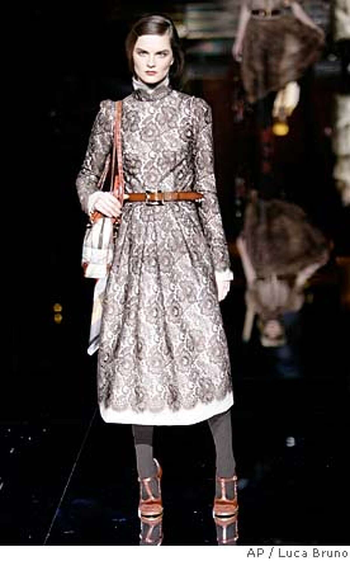 A model wears a creation part of the Dolce & Gabbana women's Fall/Winter 2008/2009 collection presented in Milan, Italy, Thursday, Feb. 21, 2008. (AP Photo/Luca Bruno)
