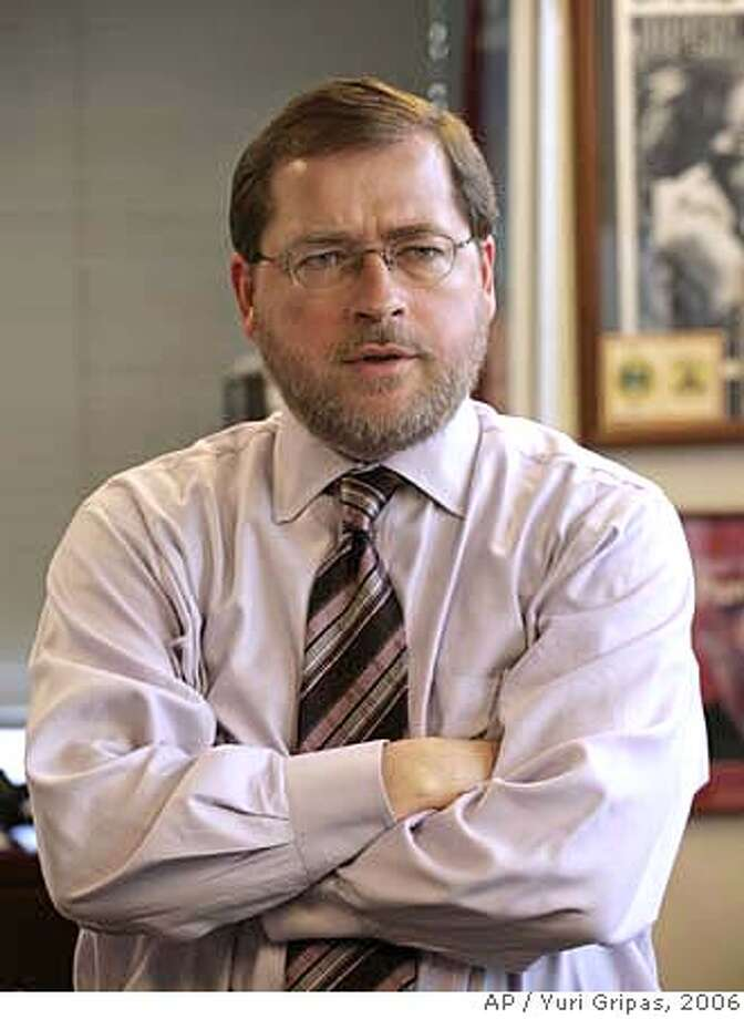 *** FILE *** Conservative activist Grover Norquist, President of the Americans for Tax Reform, stands in his office in Washington Thursday, Jan. 26, 2006. Republican activists Grover Norquist and Ralph Reed landed more than 100 meetings inside the Bush White House, according to documents released Wednesday Sept. 20, 2006 that provide the first official accounting of the access and influence the two presidential allies have enjoyed. (AP Photo/Yuri Gripas) Ran on: 10-13-2006  Grover Norquist 2006 FILE PHOTO Photo: YURI GRIPAS