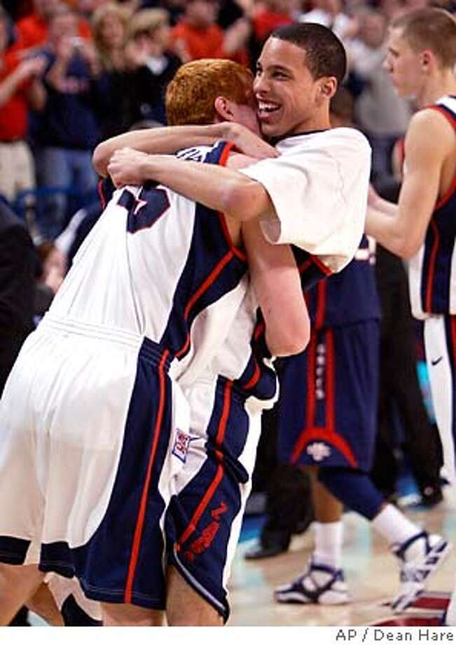###Live Caption:Gonzaga players David Pendergraft, left, and Austin Daye celebrate after defeating Saint Mary's 88-76 in a college basketball game Saturday March 1, 2008 at the McCarthey Athletic Center in Spokane, Wash. (AP Photo/Dean Hare)###Caption History:Gonzaga players David Pendergraft, left, and Austin Daye celebrate after defeating Saint Mary's 88-76 in a college basketball game Saturday March 1, 2008 at the McCarthey Athletic Center in Spokane, Wash. (AP Photo/Dean Hare)###Notes:Austin Daye, David Pendergraft###Special Instructions:EFE OUT Photo: Dean Hare