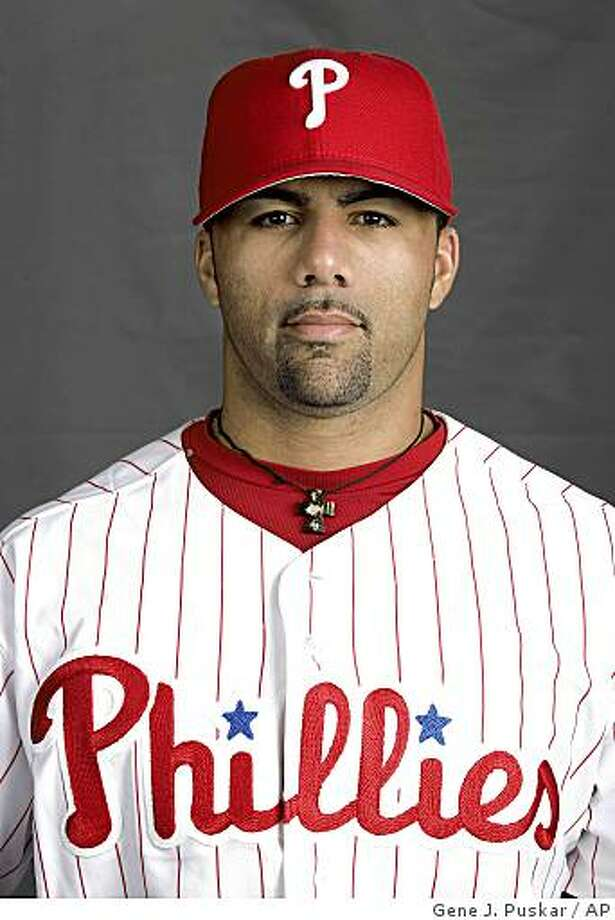 This is a 2009 photo of J.C. Romero of the Philadelphia Phillies baseball team, taken in Clearwater, Fla. Romero has filed suit against a nutritional supplement manufacturer alleging an unlisted ingredient in one of its products caused him to test positive for a substance banned by Major League Baseball. The suit was filed Monday, April 27, 2009. (AP Photo/Gene Puskar) Photo: Gene J. Puskar, AP