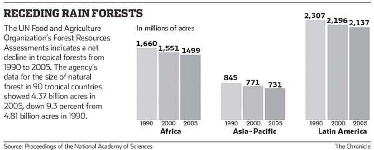Receding rain forest graphic. Chronicle graphic