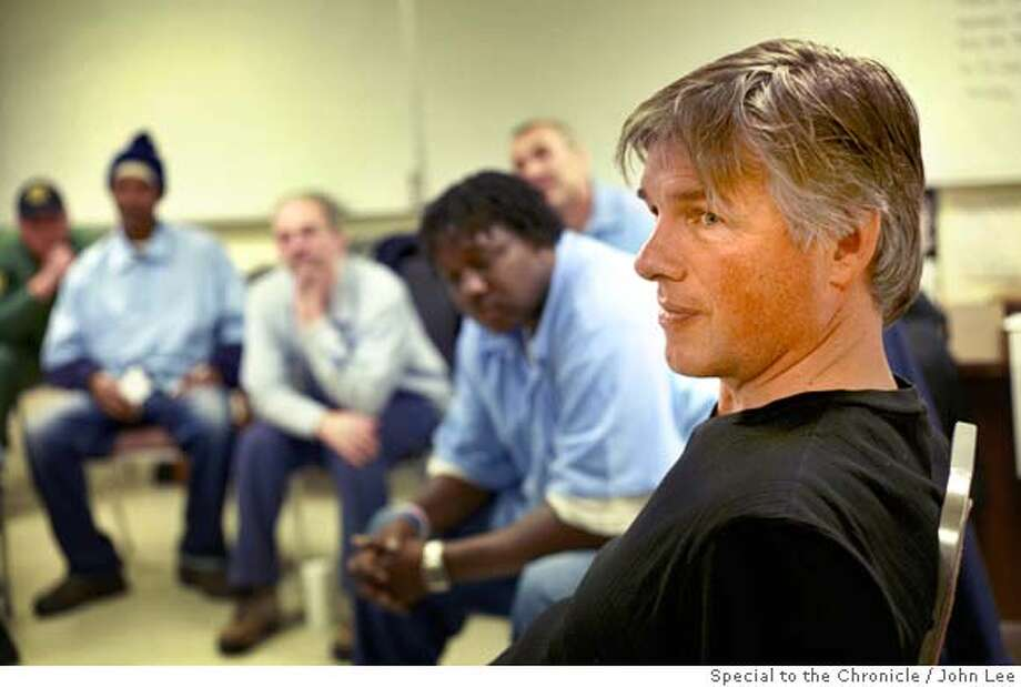 KATARGEO_22_JOHNLEE.JPG  SAN QUENTIN, CALIF - JAN 29: Jacques Verduin (cq), right, executive director of the Insight Prison Project, with inmates during a Katargeo session inside a classroom at San Quentin correctional facility.  By JOHN LEE/ Photo: John Lee