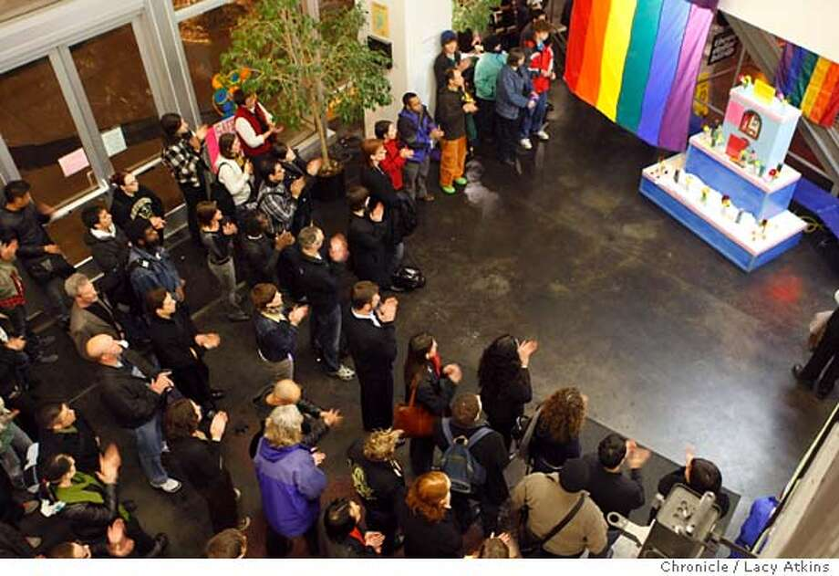 People gather at the San Francisco LGBT Center in remembrance of Larry and other members of our community that have been victims of violence, Tuesday Feb. 19, 2008, in San Francisco, Ca. Larry King, 15 years old and a junior high school student in Oxnard, was shot at E.O. Green Junior High School on Tuesday, February 12th, and was taken off life support on� February 15th. Authorities are now prosecuting his murder as a hate crime, as King was perceived to be gay and gender non-conforming, and had been ridiculed and harassed by some classmates.  Feb. 19, 2008, in San Francisco, Ca.(Lacy Atkins San Francisco Chronicle) Ran on: 02-20-2008  The San Francisco Lesbian Gay Bisexual Transgender Community Center holds a vigil Tuesday for Lawrence King, 15, who was shot Feb. 12 at his school in Oxnard (Ventura County) in what is being called a hate crime. The eighth-grader was taken off life support Thursday and his organs donated. Classmates said he wore feminine attire, making him a social outcast. He lived at a center for abused and neglected children. Prosecutors charged a 14-year-old classmate with murder and hate-crime and firearm-use enhancements. The suspect will be tried as an adult, police said.  Ran on: 02-20-2008 Ran on: 02-20-2008 Ran on: 02-20-2008  The San Francisco Lesbian Gay Bisexual Transgender Community Center holds a vigil Tuesday for Lawrence King, 15, who was shot Feb. 12 at his school in Oxnard (Ventura County) in what is being called a hate crime. The eighth-grader was taken off life support Thursday and his organs donated. Classmates said he wore feminine attire, making him a social outcast. He lived at a center for abused and neglected children. Prosecutors charged a 14-year-old classmate with murder and hate-crime and firearm-use enhancements. The suspect will be tried as an adult, police said. Photo: Lacy Atkins