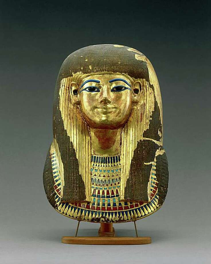 Tutankhamun and the Golden Age of the Pharaohs. Gilded Funerary Mask of Tijuya.  Dynasty 18, reign of Amenhotep III (1390-1353 BC) Gilded cartonnage.  Egyptian Museum, Cairo. Photo: Andreas F. Voegelin, Antikenmuseum Basel