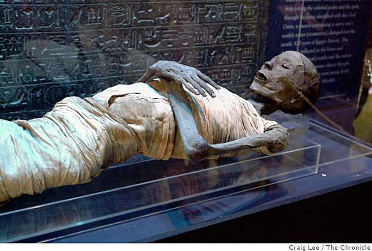 The Rosicrucian Egyptian Museum in San Jose, California. Photo of the actual Mummy of the Priest Usermontu, 1307 - 1070 B.C.