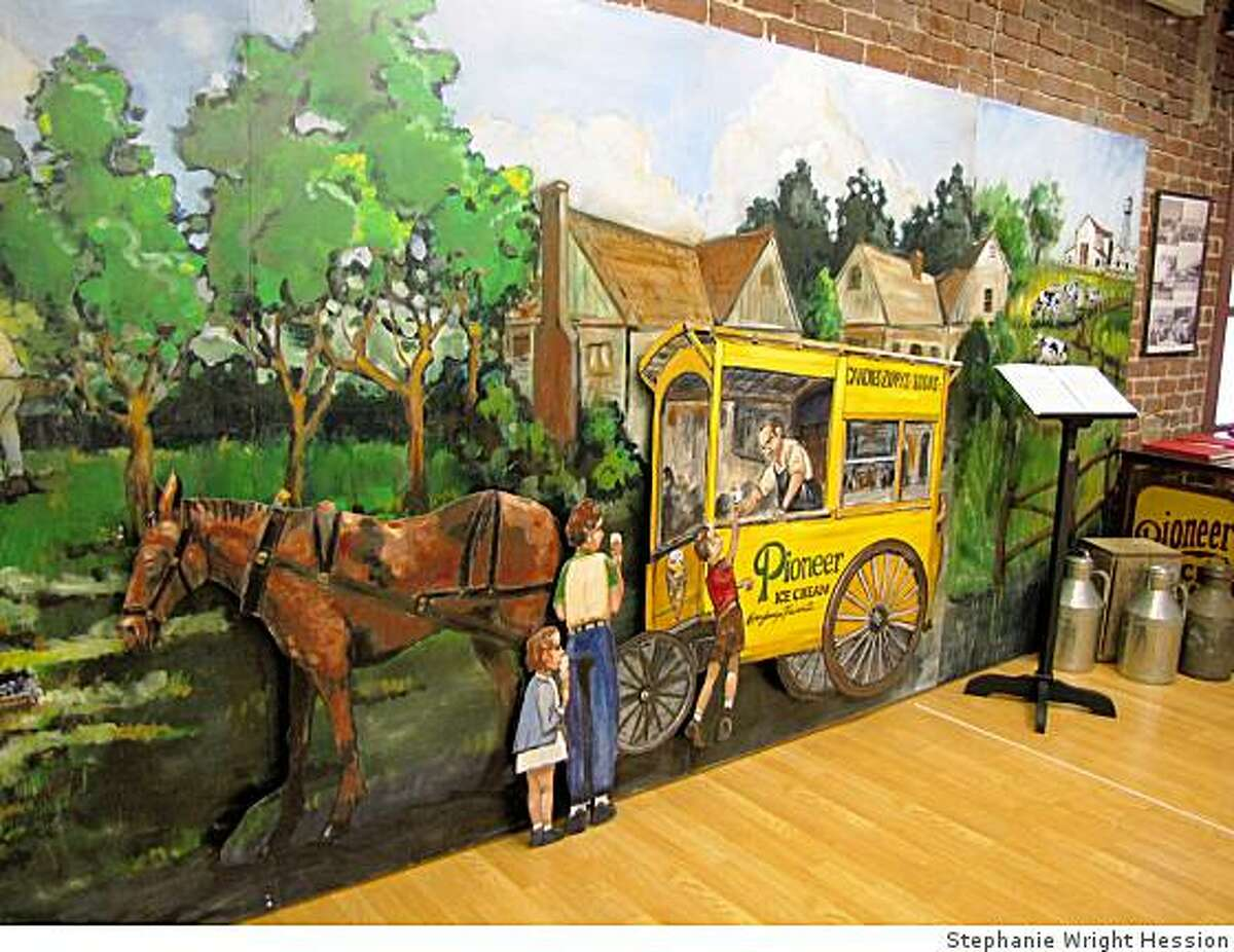 This mural by Francis Palermo and Mary Lieser depicts old time Pittsburg. The mural is located in the Pittsburg Historical Society.