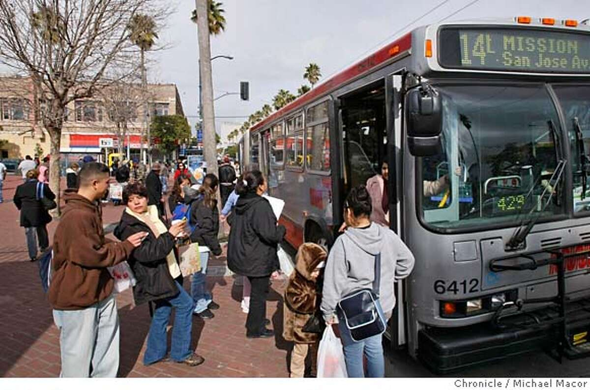 munifuture_068_mac.jpg Passengers grab a bus on Mission and 24th streets. MUNI plans to overhaul the transit cooridor, which includes the Mission St. lines, to speed travel for buses along the route. Photographed in, San Francisco, Ca, on 2/1/08. Photo by: Michael Macor/ San Francisco Chronicle Mandatory credit for Photographer and San Francisco Chronicle No sales/ Magazines Out