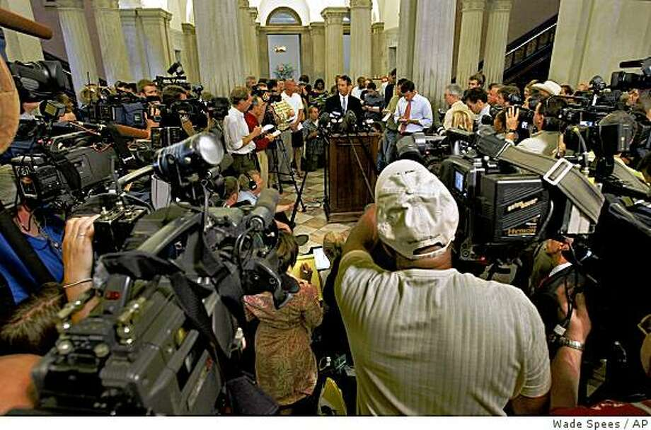 Gov. Mark Sanford holds a news conference at the Statehouse in Columbia, S.C. on Wednesday June 24, 2009 where he announced he's been having an affair and will resign as head of the Republican Governor's Association. (AP Photo/The Post And Courier, Wade Spees) Photo: Wade Spees, AP