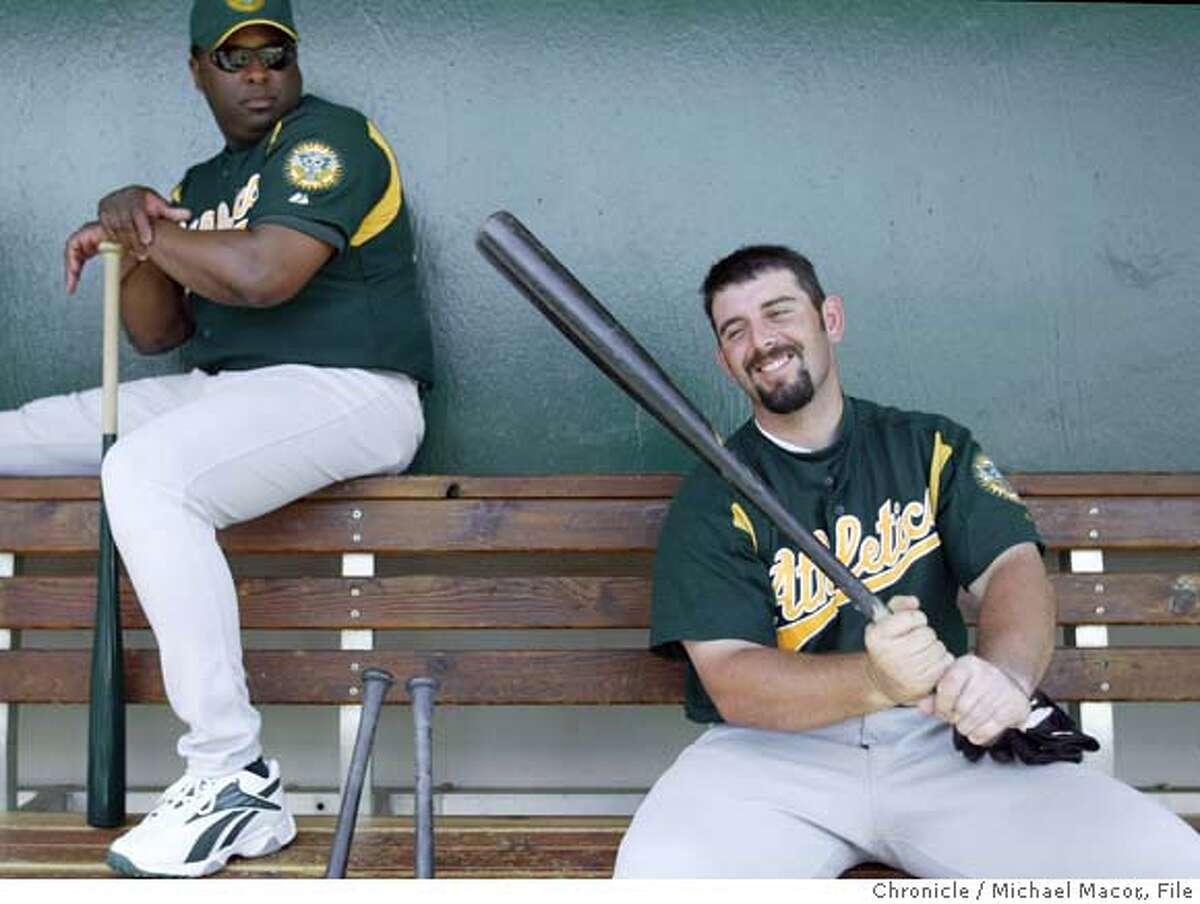 athletics079_mac.jpg Webster Garrison a minor league coach out of Midland, Texas watches as Oakland catche Jeremy Brown gets the feel of a bat he used in batting practice earlier, before the start of the game. Spring training continue in the desert as the Oakland Athletics take on the Chicago Cubs. event on 3/10/04 in Phoenix Michael Macor / San Francisco Chronicle Jeremy Brown is one of the seven top picks the As drafted in 2002 who was made famous by the book Moneyball. Jeremy Brown is one of the seven top picks the As drafted in 2002 who was made famous by the book Moneyball. Jeremy Brown is one of the seven top picks the As drafted in 2002 who was made famous by the book Moneyball. Mandatory Credit For Photographer and SF Chronicle/ No Sales- Magazines Out
