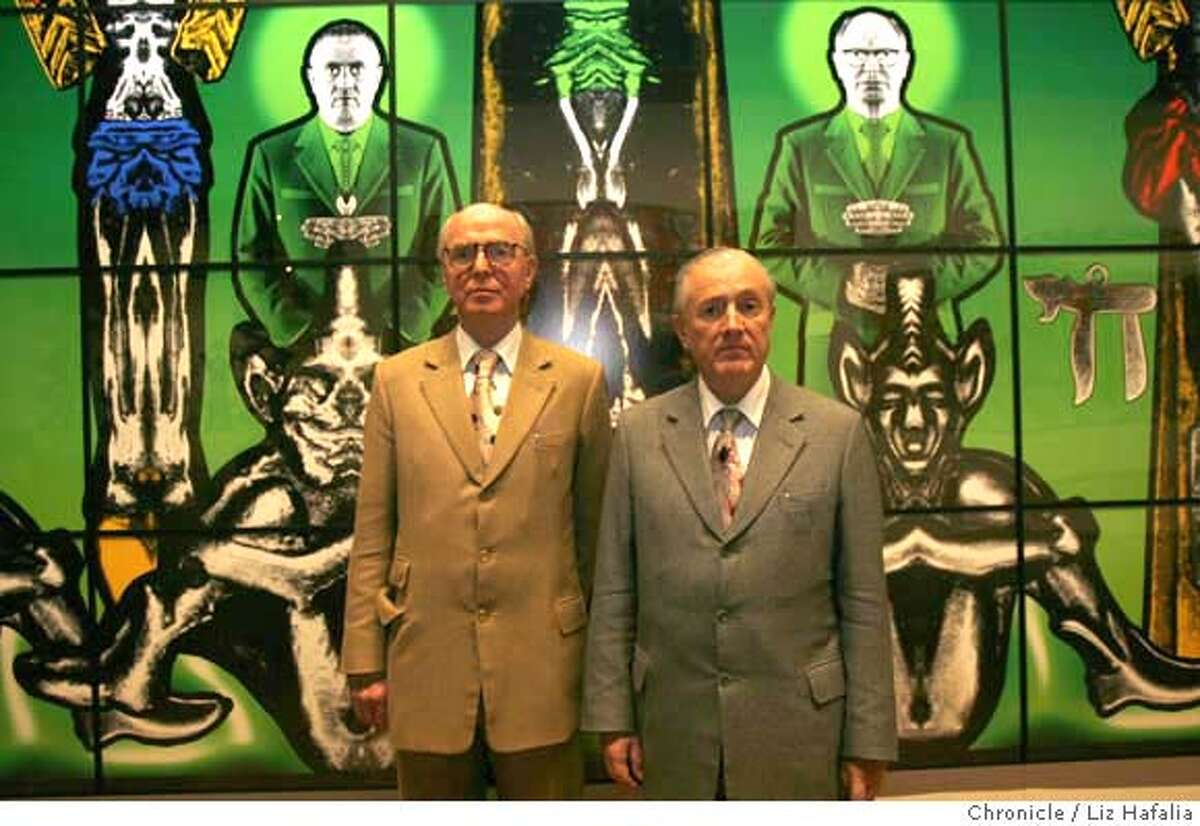 British artists Gilbert & George in their exhibition at the de Young Museum. Photo by Liz Hafalia/San Francisco Chronicle �2008, San Francisco Chronicle/ Liz Hafalia MANDATORY CREDIT FOR PHOTOG AND SAN FRANCISCO CHRONICLE. NO SALES- MAGS OUT.