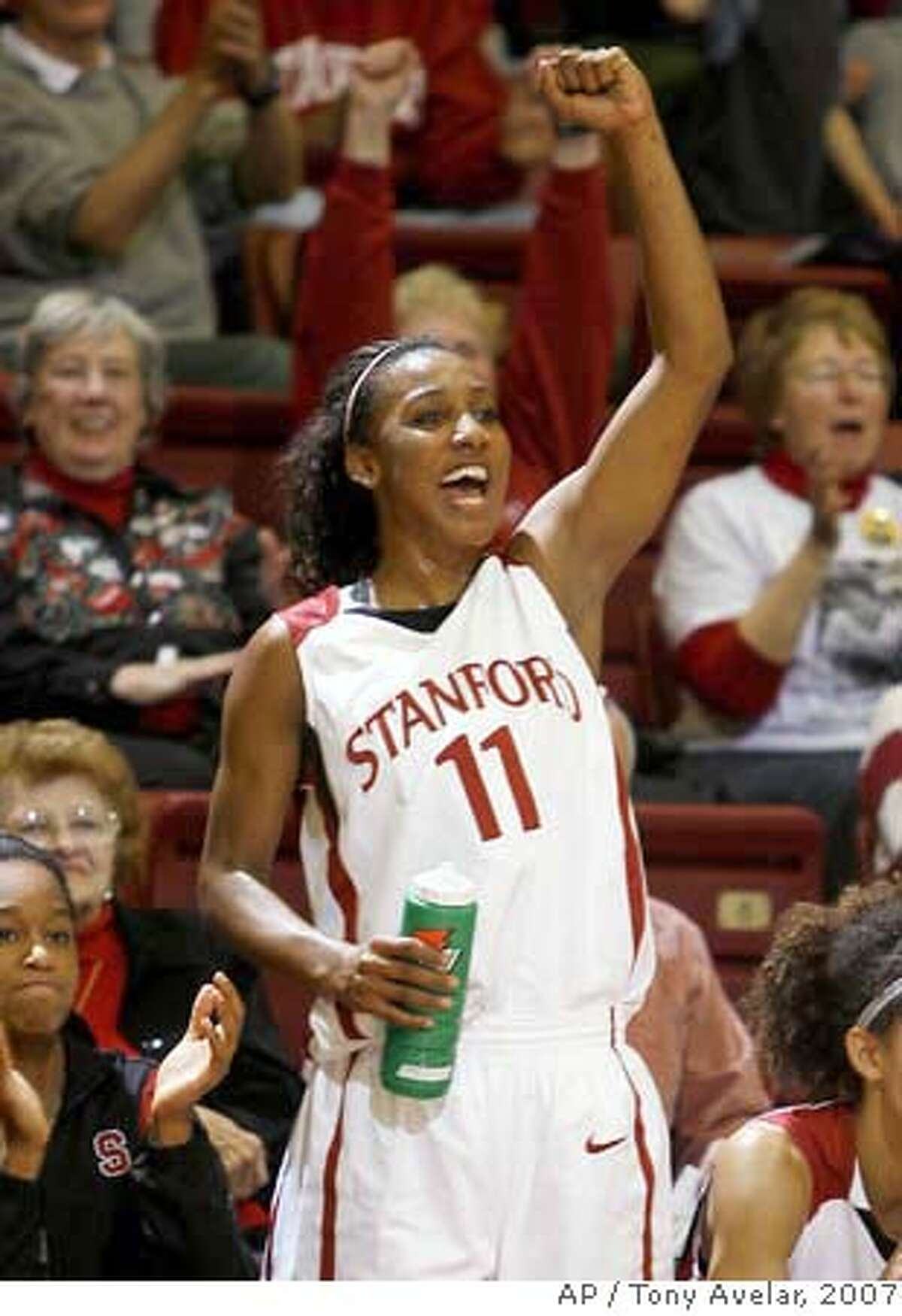 Stanford guard Candice Wiggins (11) celebrates after beating Baylor 87-63 during an NCAA basketball game in Stanford, Calif., Sunday, Dec. 16, 2007. Wiggins had a team high 35 points in the game. (AP Photo/Tony Avelar) Ran on: 12-17-2007 Candice Wiggins fell two points shy of her career high when she scored 35 points in Stanfords win over Baylor. Ran on: 12-17-2007 Candice Wiggins fell two points shy of her career high when she scored 35 points in Stanfords win over Baylor. EFE OUT