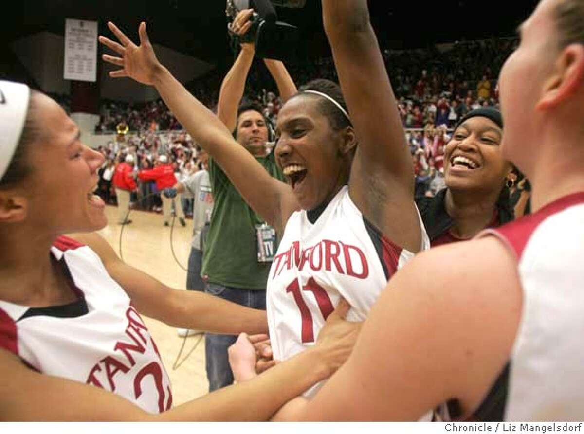 stanford_women010_lm.jpg Stanford's # 11 Candice Wiggins celebrates after the team beat Tennessee 73-69 in OT. Stanford University plays the University of Tennessee in women's basketball. Photo by Liz Mangelsdorf, Special to the Chronicle Event on 12/22/07 in Palo Alto. MANDATORY CREDIT FOR PHOTOG AND SF CHRONICLE/NO SALES-MAGS OUT