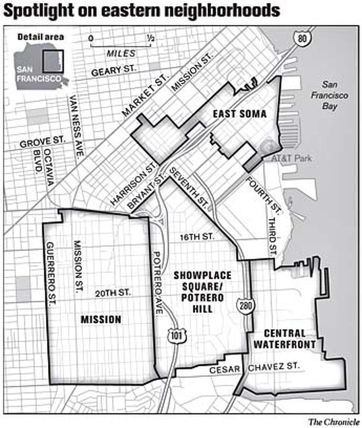 Spotlight on Eastern Neighborhoods. Chronicle Graphic