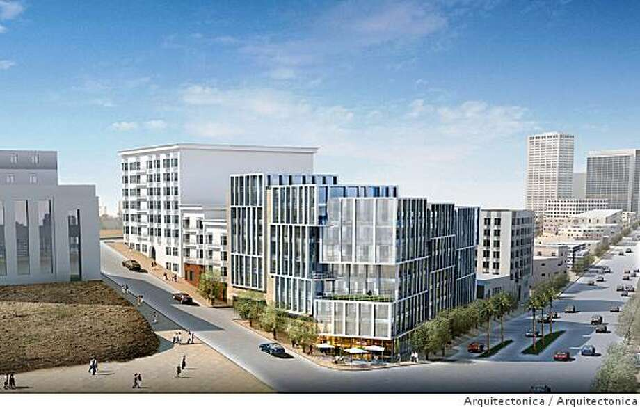 The proposed development at 1960 Market Street would replace a shuttered gas station with 115 condominiums. Photo: Arquitectonica