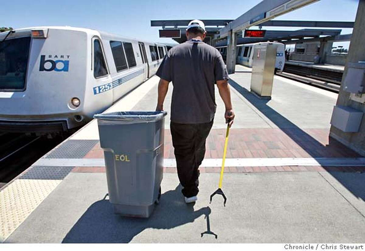 End of line employee Mike Coniglio, 36, awaits the arrival of a BART train before a mad dash to clean it at the Daly City BART station. Photographed June 16, 2007. MANDATORY CREDIT FOR PHOTOG AND SF CHRONICLE/NO SALES-MAGS OUT