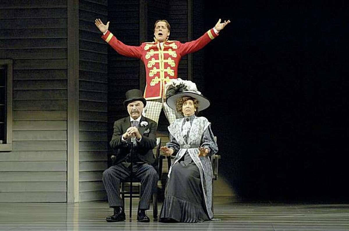 Ashland Shakespeare Festival Harold Hill (Michael Elich) tries to work his magic on Mayor Shinn (Richard Elmore) and Eulalie Mackecknie Shinn (Linda Alper).