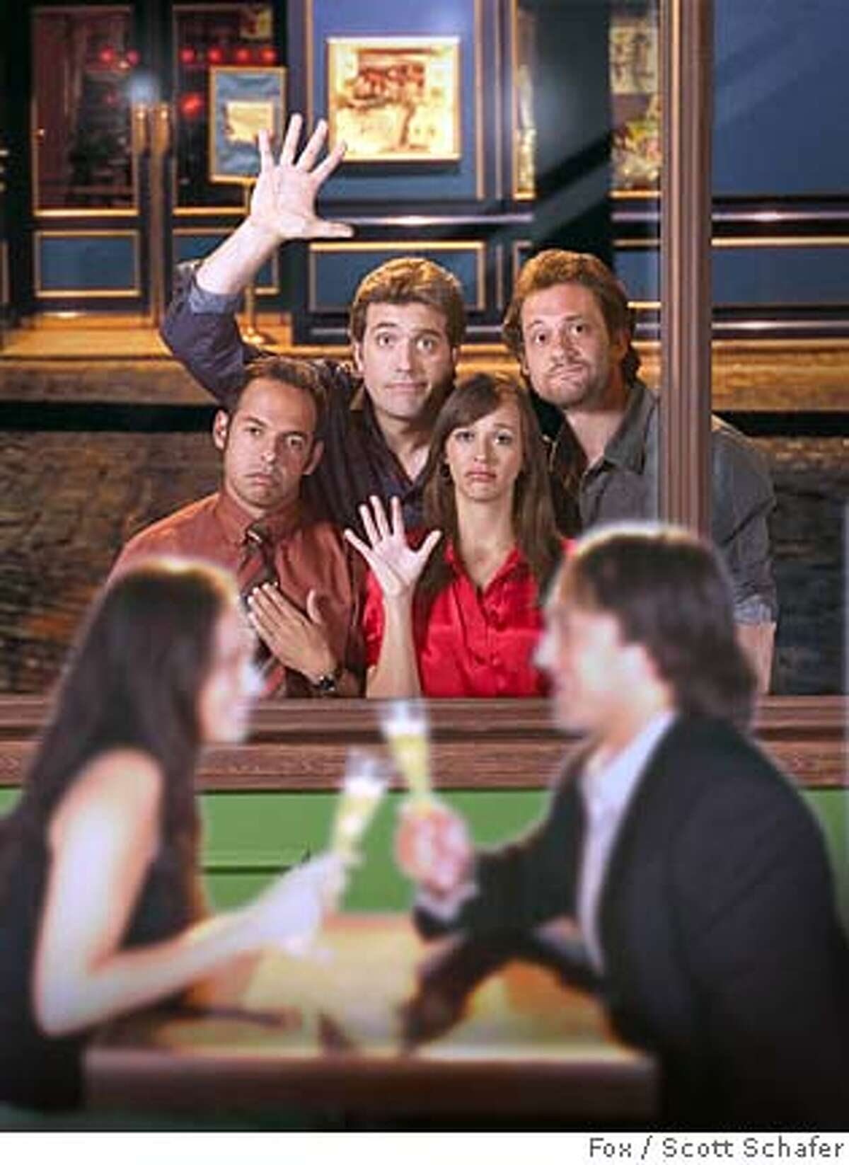 UNHITCHED: Four unattached friends who are looking to get married, must navigate the tricky waters of dating in their 30s in the new comedy executive-produced by the Farrelly Brothers UNHITCHED premiering Sunday, March 2 (9:30-10:00 PM ET/PT) on FOX. Pictured clockwise from L: Shaun Majumder, Johnny Sneed, Craig Bierko and Rashida Jones. Cr: Scott Schafer/FOX