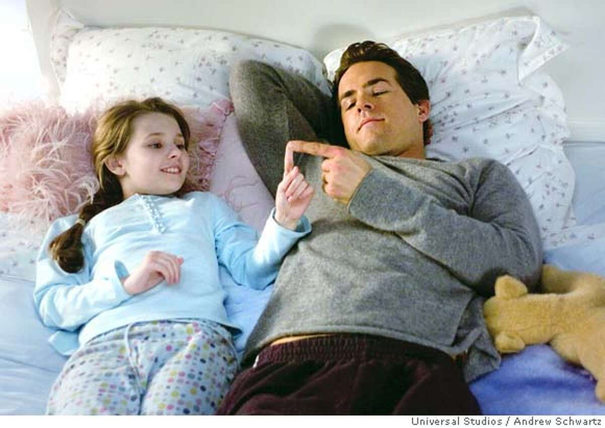 In this image released by Universal Studios, Ryan Reynolds who portrays Will Hayes is shown with Abigail Breslin portrays his daughter Maya Hayes in a scene from the film