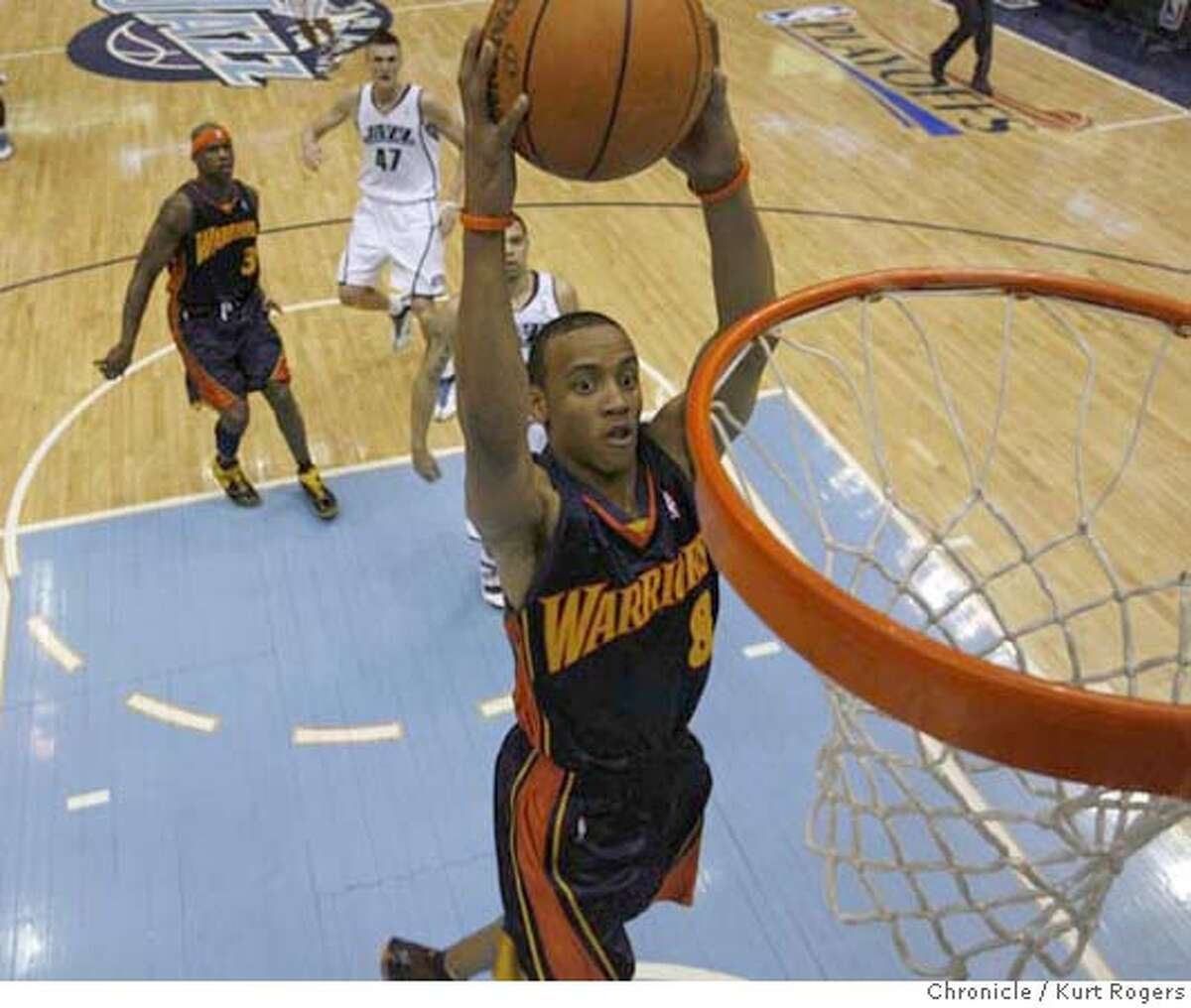 2007 NBA PLAYOFFFS-Western Conference Golden State Warriors' Monta Ellis up for two in the first half of play. Semifinals UTAH JAZZ vs GOLDEN STATE WARRIORS Series Game #5 EnergySolutions Arena . TUESDAY, MAY 15, 2007 KURT ROGERS SALT LAKE CITY SFC KURT ROGERS/THE CHRONICLE _O1N0242.JPG Ran on: 06-24-2007 Don Nelson Ran on: 06-24-2007 Don Nelson MANDATORY CREDIT FOR PHOTOG AND SF CHRONICLE / NO SALES-MAGS OUT