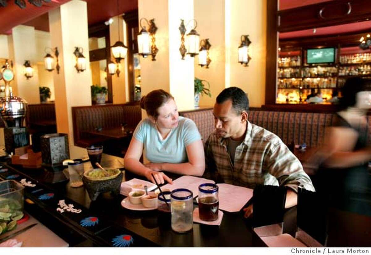 dine09_colibri001_lm.JPG Andrea Mautner (left) and Carlos Ca�ada (right), both of San Francisco, CA, eat lunch at Colibri Mexican Bistro located at 438 Geary Street in San Francisco, CA on Wednesday, June 7, 2006. Laura Morton/The Chronicle *** Andrea Mautner (cq) *** Carlos Ca�ada (cq) Ran on: 06-09-2006 Andrea Mautner and Carlos Caada peruse the somewhat complicated menu at Colibri Mexican Bistro.