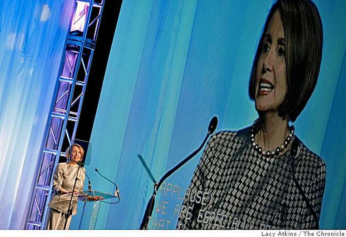 Speaker of the House Nancy Pelosi addresses the thousands at the First 2009 National Conference of Volunteering and Services, at the Moscone Center, Monday June 22, 2009, in San Francisco, Calif.
