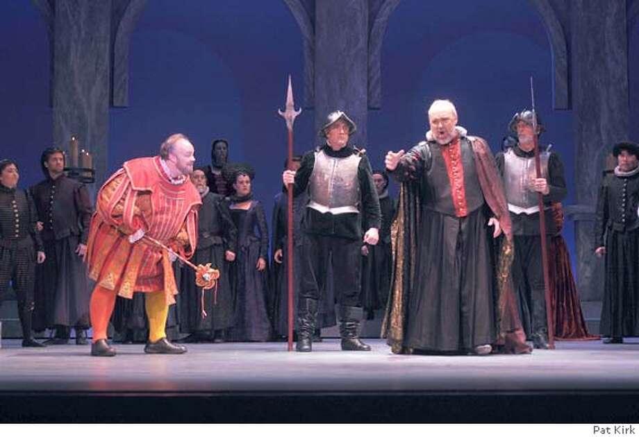 Rig/mont: Scott Bearden (far left) as Rigoletto, Silas Elash as Monterone (far right). Photo: Pat Kirk