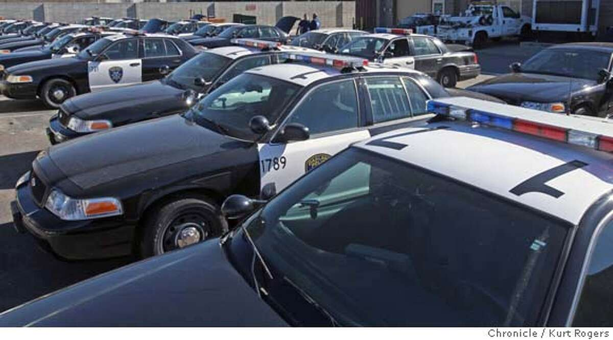 At the City of Oakland 's vehicle yard police new police cars sit waiting to be put on the street. Photo By Kurt Rogers / The Chronicle MANDATORY CREDIT FOR PHOTOG AND SAN FRANCISCO CHRONICLE/NO SALES-MAGS OUT