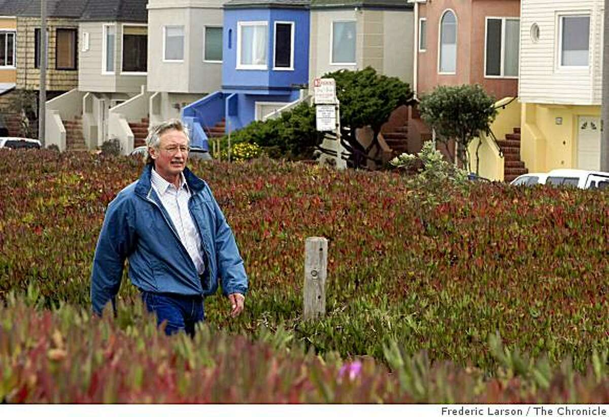 George Mayer lives along the Great Highway which is the foggiest spot in San Francisco, Cailf. Mayer, retired, has lived in the same house for 25-years and enjoys his cool afternoon walks along the Great Highway on July 1, 2009.