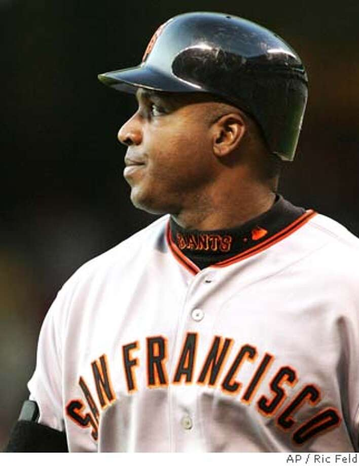 ** FILE ** San Francisco Giants' Barry Bonds walks back to the dugout after flying out to deep right field against Houston Astros pitcher Wandy Rodriguez in the second inning of their baseball game in Houston, in this May 16, 2006 file photo. (AP Photo/Ric Feld)  Ran on: 11-20-2007 Photo: RIC FELD