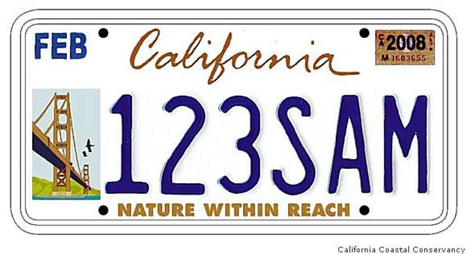 The state Coastal Conservancy's plans to sell this license plate in the Bay Area has irritated Golden Gate Bridge directors, who'd like to sell their own plates. Photo: California Coastal Conservancy