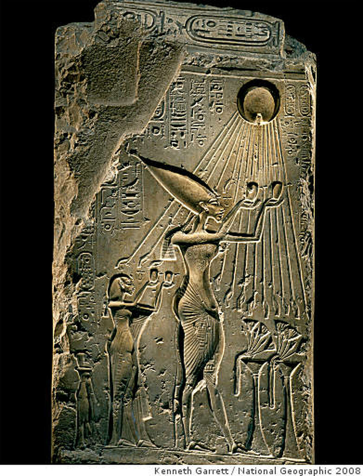 Tutankhamun and the Golden Age of the Pharaohs. Part of a Balustrade Depicting Akhenaten and Family under the Aten. Dynasty 18, reign of Akhenaten (1353-1336 BC). Crystalline limestone. Egyptian Museum, Cairo. FOR YOUR ONE-TIME EXCLUSIVE USE ONLY AS A TIE-IN WITH THE NATIONAL GEOGRAPHIC KING TUT EXHIBIT. IMAGE MAY NOT BE CROPPED OR ALTERED IN ANY WAY. �2008 Kenneth Garrett / National Geographic