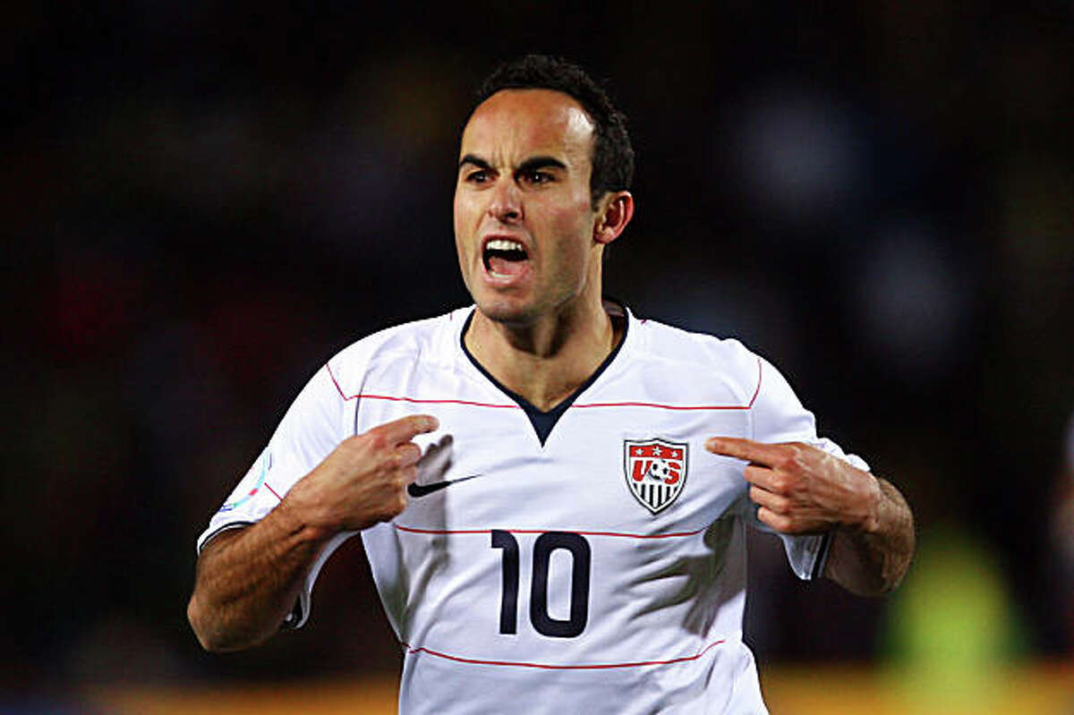 JOHANNESBURG, SOUTH AFRICA - JUNE 28: Landon Donovan of USA celebrates scoring his team's second goal during the FIFA Confederations Cup Final between USA and Brazil at the Ellis Park Stadium on June 28, 2009 in Johannesburg, South Africa. (Photo by Alex Livesey/Getty Images)