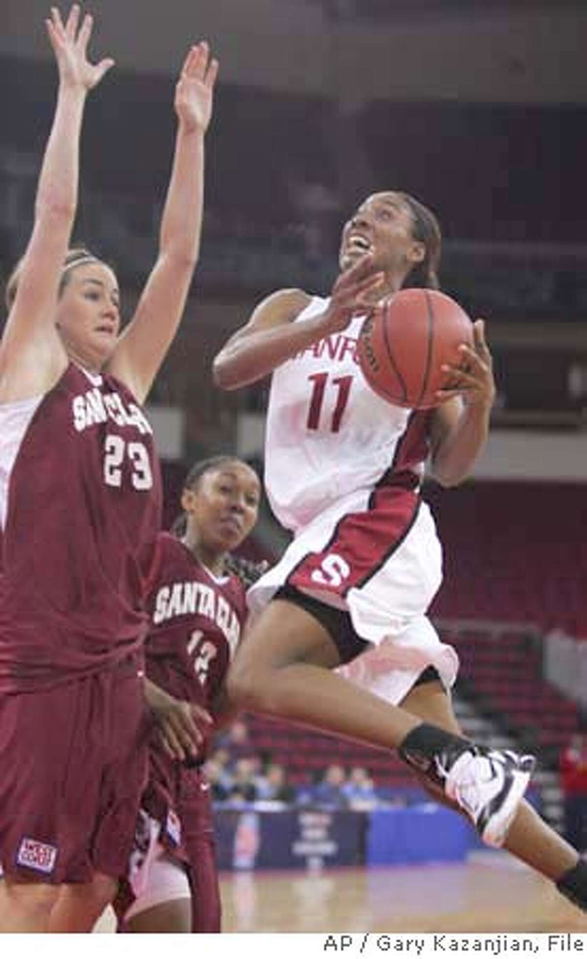 Stanford's Candice Wiggins drives to the basket past Santa Clara's Tori Markey during the first half of an NCAA tournament game Saturday, March 19, 2005, in Fresno, Calif. (AP Photo/Gary Kazanjian) Ran on: 03-20-2005 A little first-half contact spurred Candice Wiggins on to a 29-point, five-rebound performance. Ran on: 03-20-2005 A little first-half contact spurred Candice Wiggins on to a 29-point, five-rebound performance.