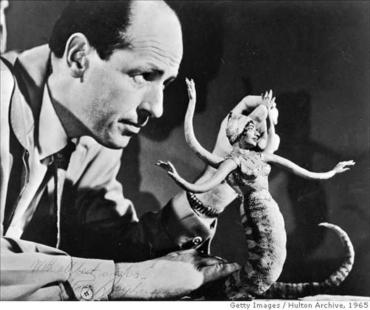 American film animator and special effects creator Ray Harryhausen manipulates a figure of a serpent-like monster for stop motion animation, circa 1965. (Photo by Hulton Archive/Getty Images) (Newscom TagID: gettyhulton003168) [Photo via Newscom]