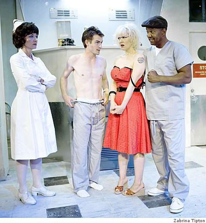 """Susi Damilano, Patrick Alparone, Madeline H. D. Brown and Hansford Prince in """"One Flew Over the Cuckoo's Nest"""" at SF Playhouse Photo: Zabrina Tipton"""