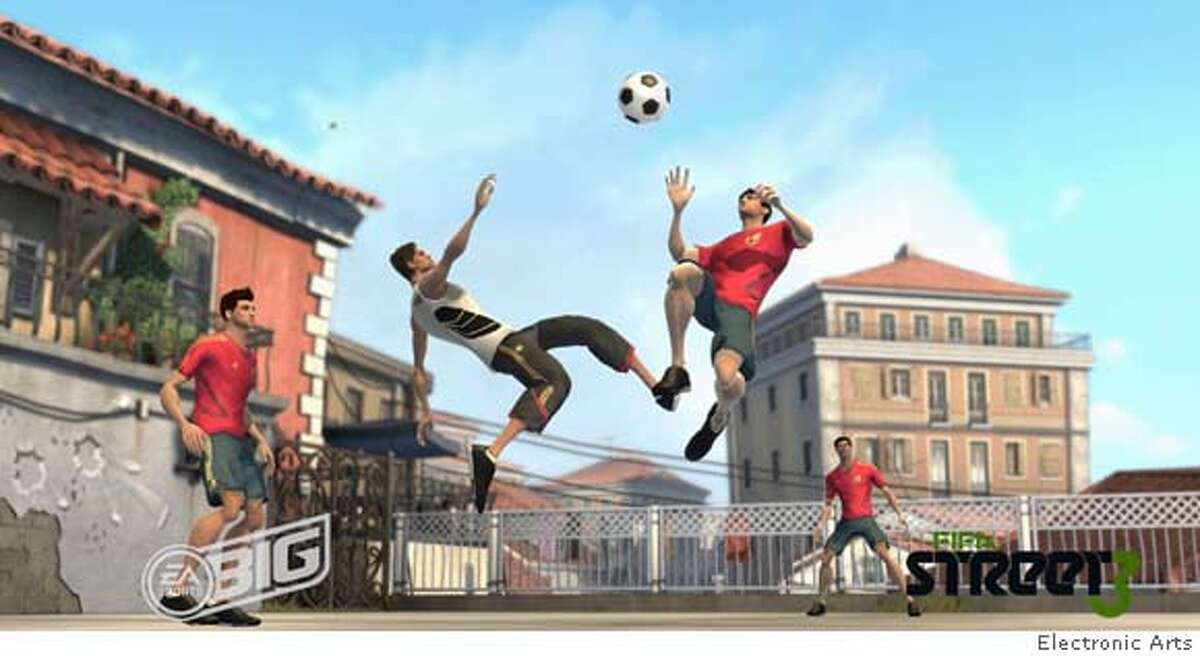 In FIFA Street 3, a new game from EA Sports Big, the players fly high. In this photo, two different players appear to be trying for a bicycle kick.